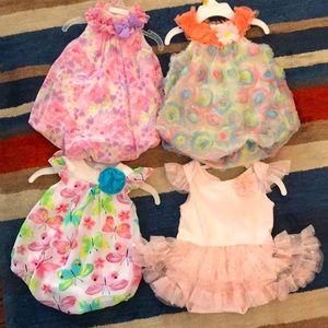 Other - Girls 4pc 3-6M Retro Dress Bundle
